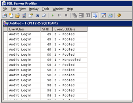 Image of Profiler showing pooled and non-pooled connections